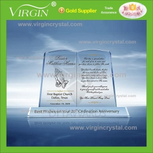 China Crystal Trophy Crystal Glass book shape award plaque on sale