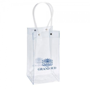China Single Bottle Clear PVC Plastic Wine Pouch Ice Chiller Bag with Printing on sale