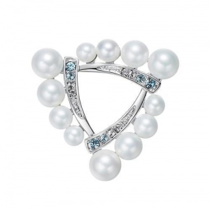 China Bridal jewelry vintage triangular pearl pin brooch Swarovski crystal breastpin for scarves clips on sale