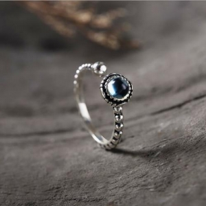China Blue topaz open design ring oval gemstone sterling silver halo ring on sale