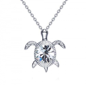 China Sterling silver 925 sea turtle pendant Swarovski crystal diamond necklace gift for her on sale