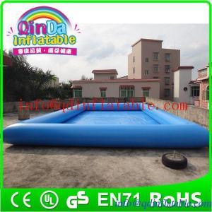 China QinDa square inflatable pool swimming pool starting block rectangular plastic pool on sale