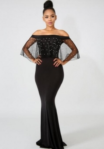 China Black Sexy & Club Slash neck Fit and Flare Long Maxi Dresses Item NO: OS41214-0 on sale