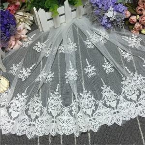 China 35cm Width New Arrival Cotton Tulle Embroidery Wedding Dress Lace XZ023# on sale
