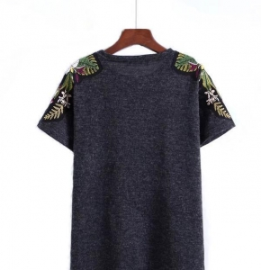 China Short Sleeve Women T Shirt Embroidery on sale
