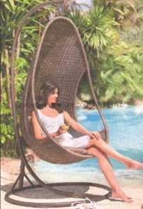 China Rattan hanging chair with stand on sale