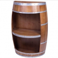 China New Rustic Wooden Wine Barrel Bar Storage Rack, Industrial Style Wine End Table on sale