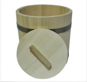 China Sauna Broom Steaming Wooden Tub, Oak Barrel With Lid, Wooden Bucket For Sauna on sale