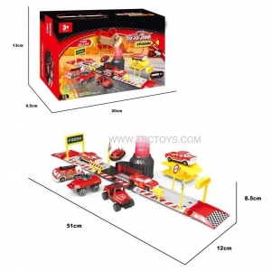 China Ejection alloy car fire set with plastic railway toys on sale