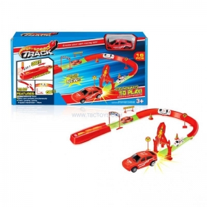 China Power Control Mini super railway racing car plastic catapult toys ejection rail car on sale