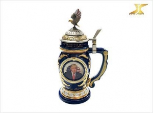 China character Sticker beer mug with eagle metal lid on sale