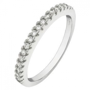 China 2mm Round Cubic Zirconia Pave Setting Sterling Silver Band Ring on sale