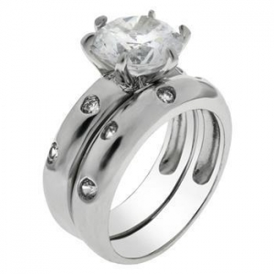 China Rings Sterling Silver 8MM Round CZ Engagement Ring Set on sale