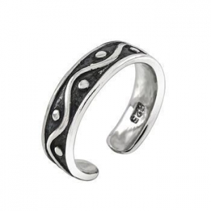 China Rings Sterling Silver Oxidized Band Toe Ring on sale