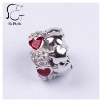China S925 Sterling silver Red enamel Heart Charm Heart zircon pave bead on sale