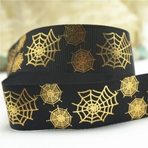 China Printed foil print gold metallic grosgrain ribbon spider web on sale