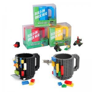 China DIY Block Puzzle Mug for kids Christmas Gift/Build-On Brick Mug Type Building Blocks Coffee Cup on sale