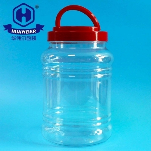 China 60OZ 1700ML Food Grade Plastic Red Colour Screw Lid With Handle PET Pickle Jar on sale