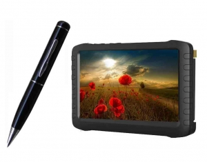 China 2.4G Wireless Ultra-low lux Pen Camera + 2.4GHz HD wireless mini DVR 5inch TFT support 32G SD card on sale