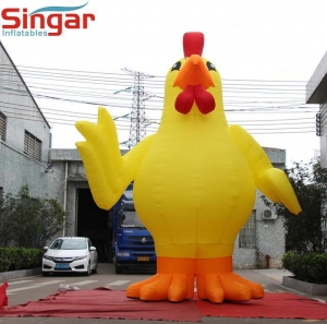 China 3D inflatables 5m yellow inflatable chicken model,Large Rooster balloon for events on sale