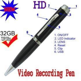 China Free shipping 720P H.264 Spy PEN camera Siver and gold optional on sale