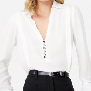 China Sexy Shirt White Long Sleeve Transparent Blouse for Ladies Tops V neck Decote with Button on sale