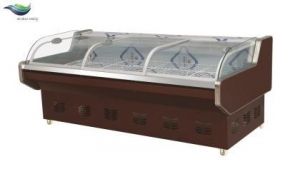 China commercial curved glass island display freezer for seafood on sale