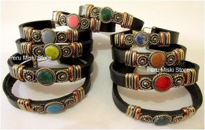 China 14 Leather Bracelets, Cuffs, Handcrafted with Semi Precious Stones on sale