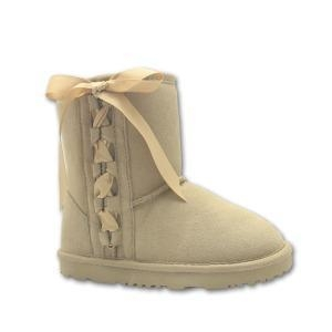 China Light Brown Children Lace Up Leather Boots Girls on sale