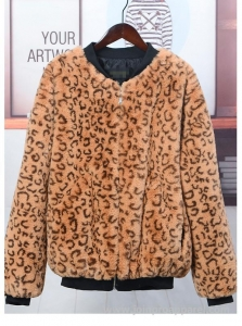 China woman fashion leopard faux fur coats bomber jackets on sale