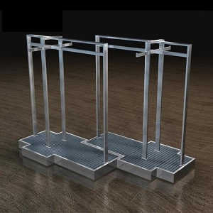 China Clothes shop floor free standing island display racks wholesale on sale