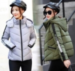 Cotton-padded jacket short style slim collared down padded jacket