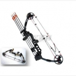 A compound bow tension bow with 3 arrows
