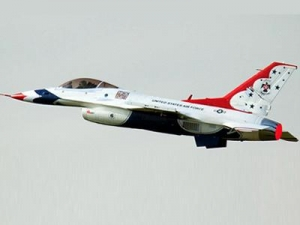 China Freewing F-16C Thunderbirds Super Scale with 12 Blade 90mm EDF Jet Red and White PNP RC Airplane on sale