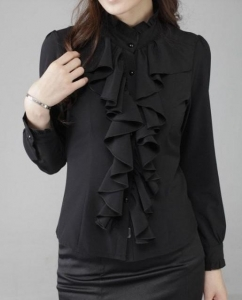 China Women Tops women blouses black color with lace on sale