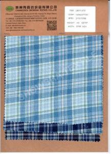 China LSX11-0701100% Cotton Indigo Yarn-dyed Check Fabric on sale