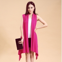 China Women's Long Open Cardigan Single Jersey Knitting Sleeveless Sweater/Reliable knitwear on sale