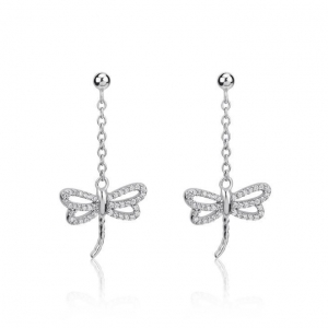 China Earring Sterling Silver Dragonfly Pendant Earrings on sale