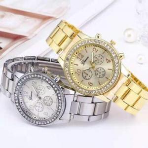 China fashion man rhinestone wristwatch casual stainless steel back geneva diamond quartz watch on sale
