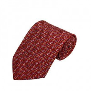 China PD-56 | Gold/Grey Chain Link Pattern On Red Men's Printed Design Necktie on sale