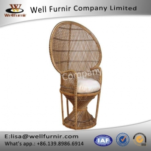 China Whitewash Dramatic High-back Accent Rattan Peacock Chair on sale