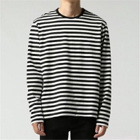 China Men Round Neck Tshirt Custom Black And White Stripe T-Shirt Wholesale Long Sleeve T Shirt on sale