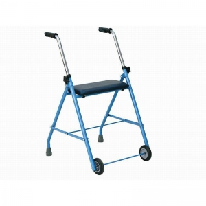 China Mobility Aid RE529 Steel walker with seat and two wheels on sale