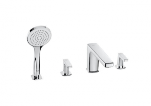 China Deck-mounted bath-shower mixer with long spout, diverter and handshower on sale