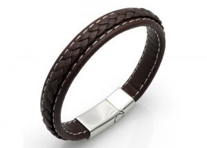 China DIY Handmade Mens Leather Braided Bracelet With Magnetic Clasp Classical Style on sale