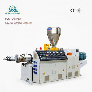 China HSJZ-65/132 Plastic Conical Twin Screw Extruder Machine| PVC PE PP Twin Pipe Twin Extruder on sale