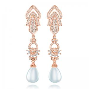 China Single Freshwater Pearl Pendant Drop Earrings With CZ Diamond on sale