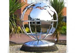China Metal World Globe Map Stainless Steel Sculpture For Public Decoration on sale