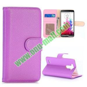 China Litchi Texture Wallet Style Flip Leather Case for LG G3 Mini D725 D722 (Purple) on sale