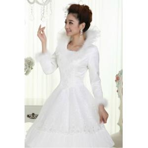 Quality Slim Heart Shaped White Cotton Wedding Dresses Princess Gowns For Bridal